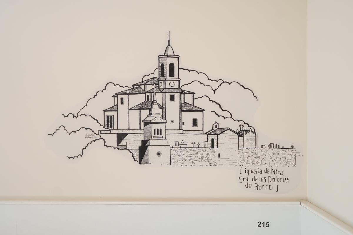 Fotografía detalle de una ilustración pintada en la pared de la Iglesia de Nuestra Señora de los Dolores de Barro.